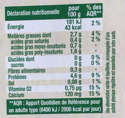 Sojasun nature sans sucre - Informations nutritionnelles
