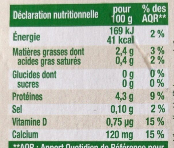 Nature - Nutrition facts - fr