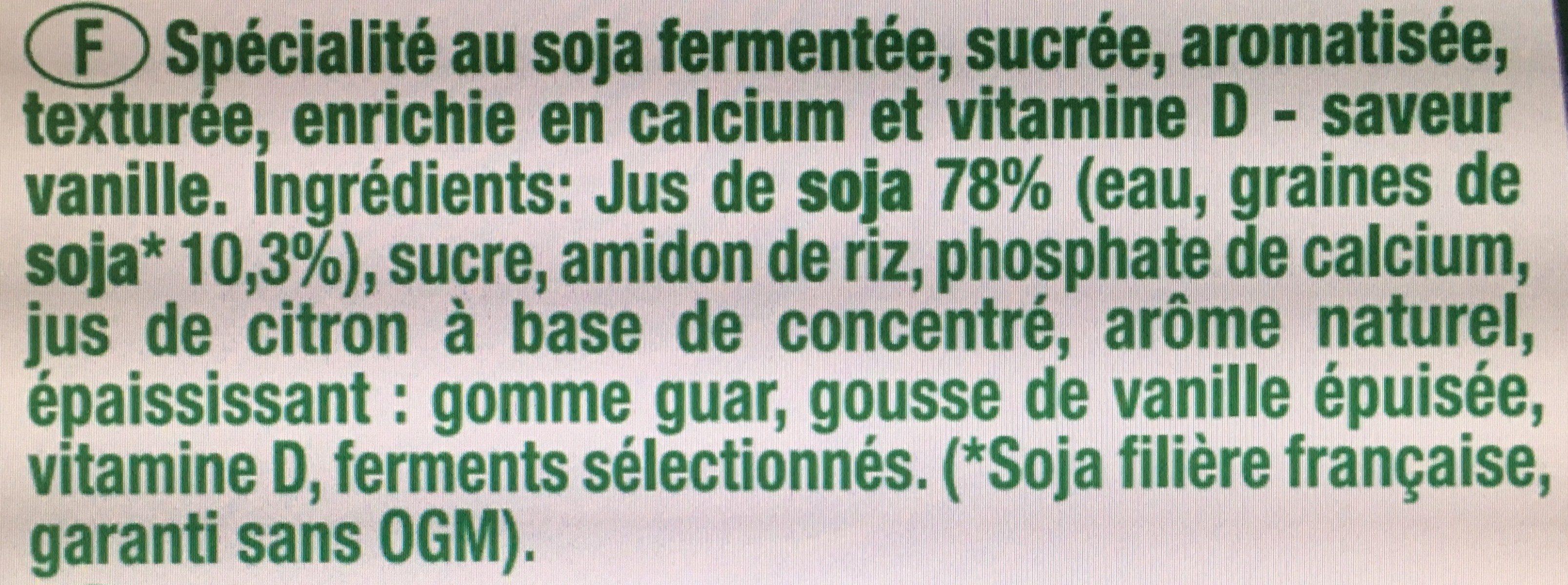 Texture Velours Saveur Vanille - Ingrédients