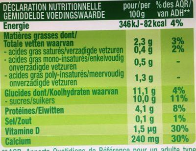 Dessert pulpe de fruits fraise - Texture Velours - Informations nutritionnelles - fr