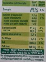 Dessert végétal aux morceaux de fruits, Framboise Litchi (4 Pots) - Nutrition facts - fr
