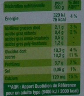Fruits mixés (Abricot Goyave) - Nutrition facts - fr