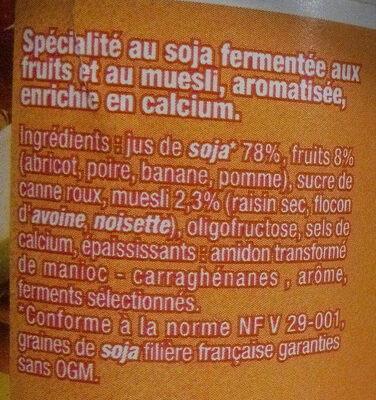 Dessert végétal, Muesli & Fruits - Ingredients
