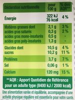Dessert végétal, Fruits mixés (Myrtilles) 4 Pots - Informations nutritionnelles