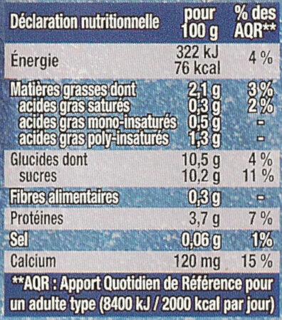 Dessert Myrtilles - Voedingswaarden