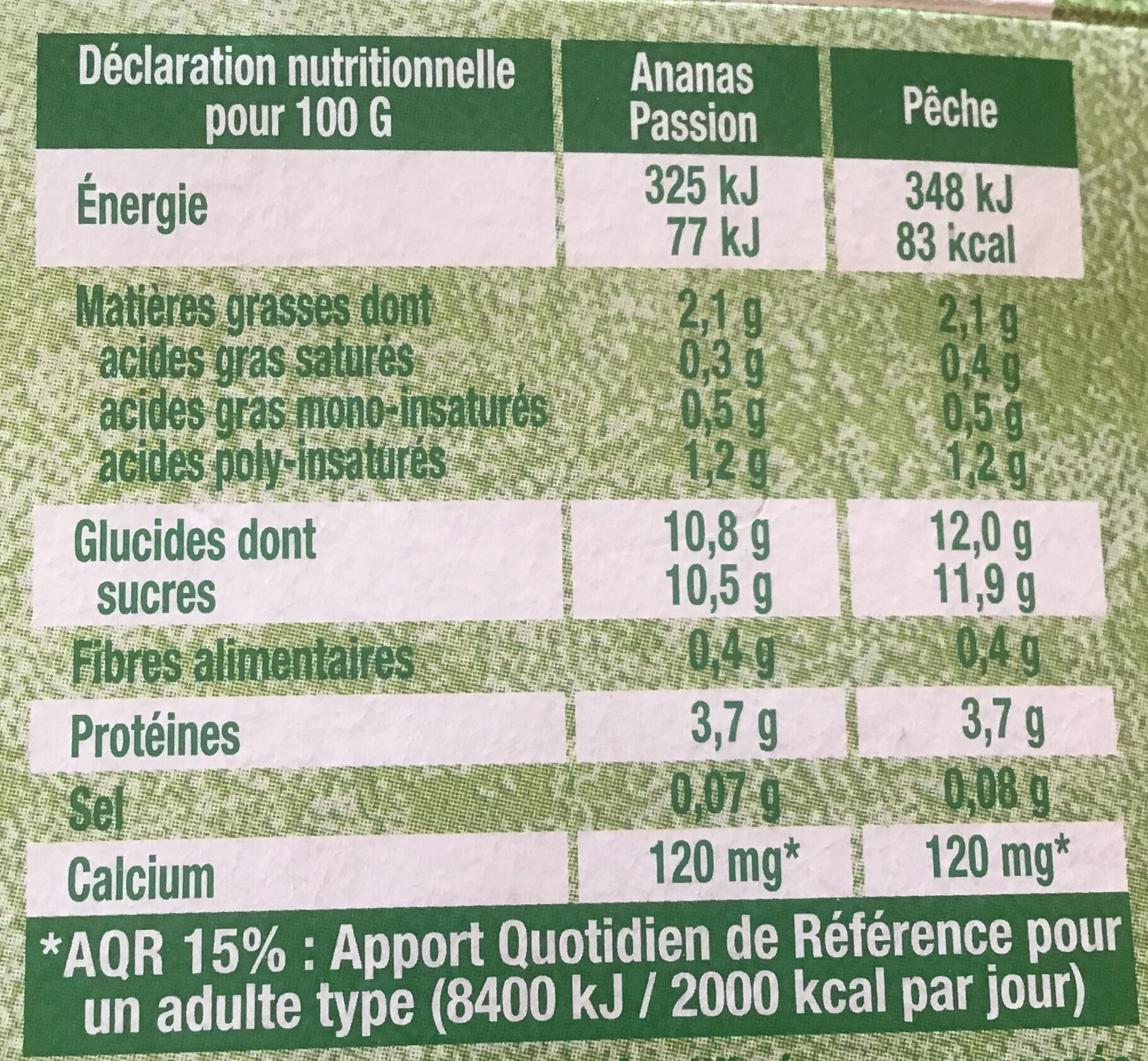 Panaché de fruits - Ananas Passion/Pêche - Nutrition facts - fr