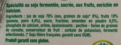 Dessert végétal aux morceaux de fruits, Poire Amandes (4 Pots) - Ingrédients - fr