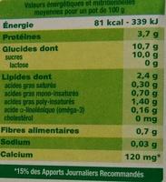 Dessert végétal aux morceaux de fruits, Poire Amandes (4 Pots) - Informations nutritionnelles - fr