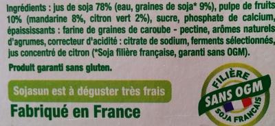 Dessert végétal, Fruits mixés (Mandarine-Citron Vert) - Ingrédients
