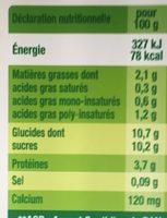 Dessert végétal, Fruits mixés (Mandarine-Citron Vert) - Informations nutritionnelles