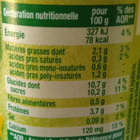 Dessert végétal, Fruits mixés (Mandarine-Citron Vert) 4 Pots - Voedingswaarden - fr