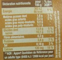 Dessert végétal au café - Informations nutritionnelles - fr