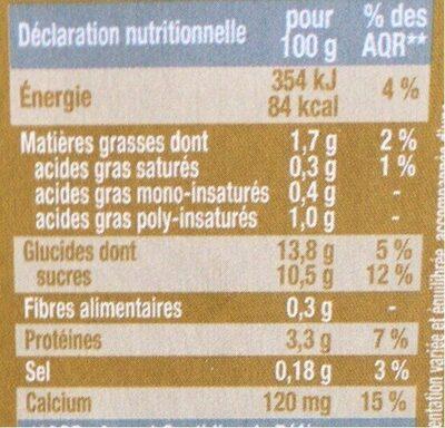 Dessert végétal café - Nutrition facts - fr
