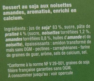 Dessert vegetal noisettes amande - Ingredients - fr