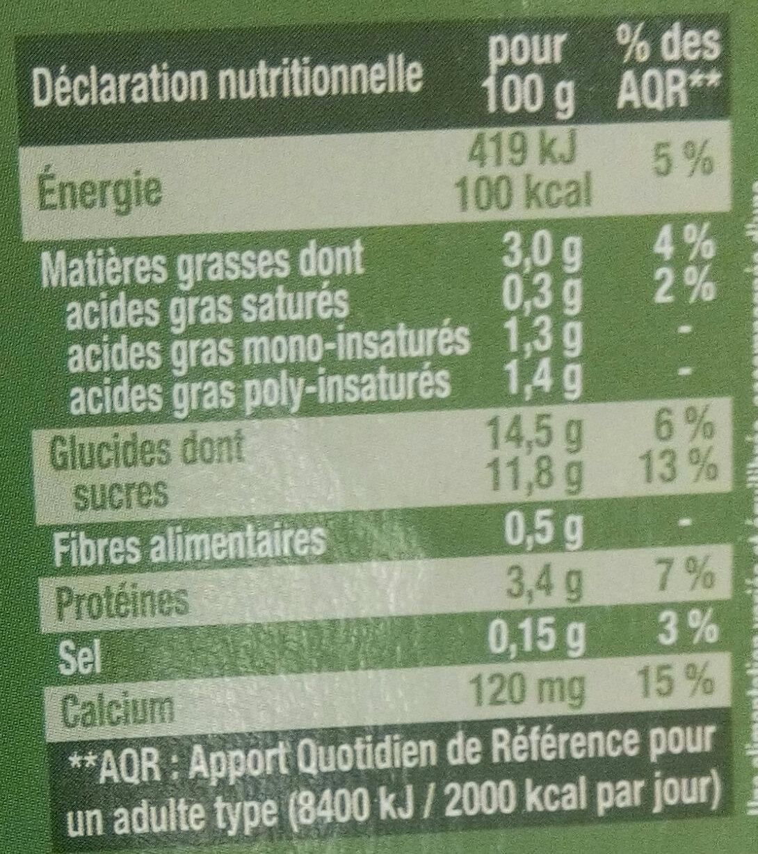 Dessert vegetal noisettes amande - Nutrition facts - fr