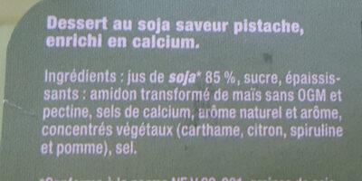 Dessert Végétal Saveur Pistache - Ingrediënten