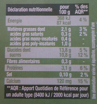 Dessert Végétal Saveur Pistache - Voedigswaarden