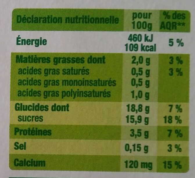Dessert végétal chocolat - Nutrition facts