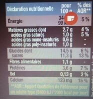 Yaourt au soja aromatisé chocolat - Informations nutritionnelles - fr