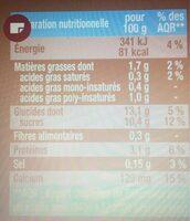 Dessert végétal, Vanille Bourbon (4 Pots) - Informations nutritionnelles - fr