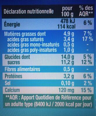 Saveur chocolat blanc coco - Nutrition facts - fr