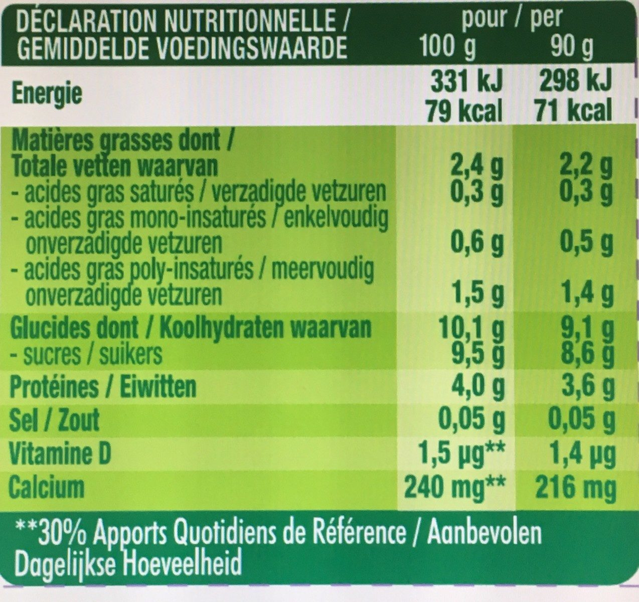 Kids - Fraise - Pulpe de Fruits - Informations nutritionnelles - fr