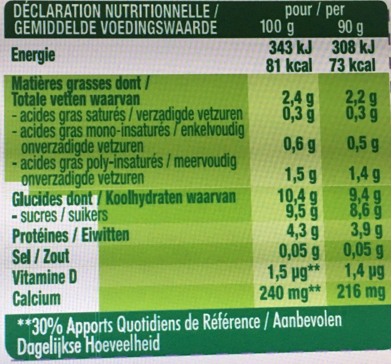 Kids - Banane- Pulpe de fruits - Informations nutritionnelles