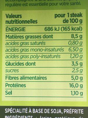 Steaks de soja fines herbes - Nutrition facts