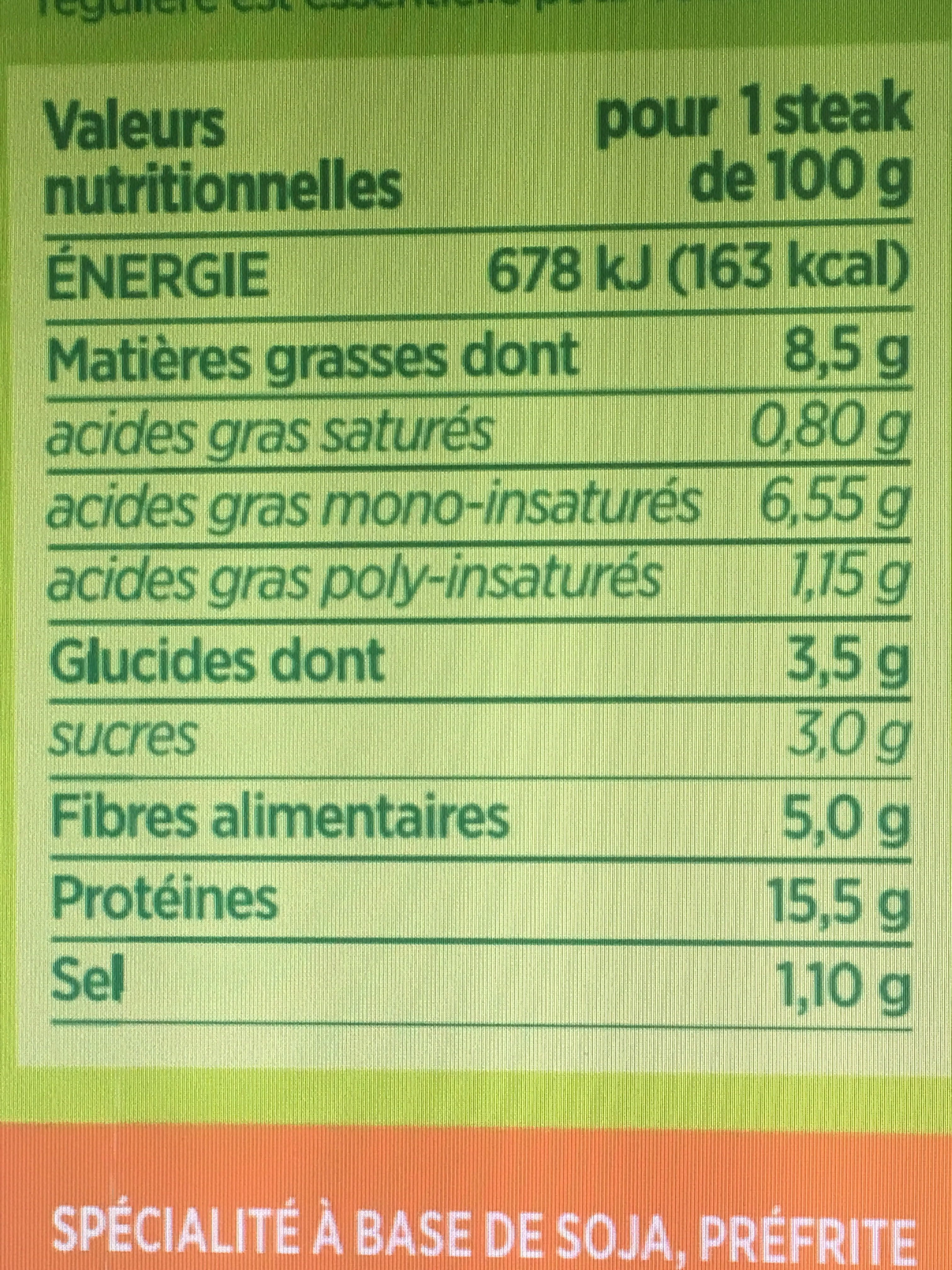 Steaks de Soja à la Méditerranéenne - Informations nutritionnelles