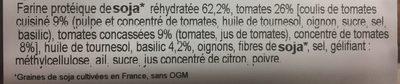 Steaks de Soja Tomate / Basilic - Ingrédients