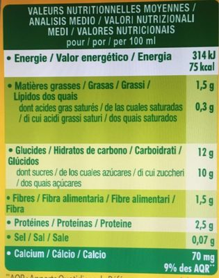 Go shake mangue - Informations nutritionnelles - fr