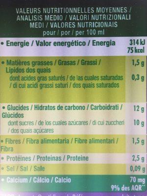 Go shake myrtille et cassis - Informations nutritionnelles