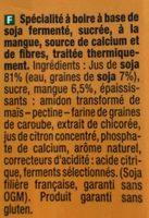 Go Shake Soja & Mangue - Ingredients