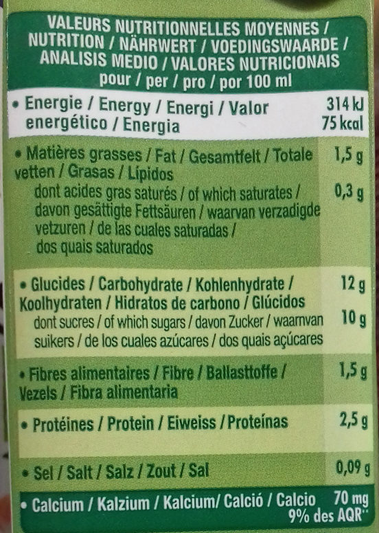 Go Shake Soja & Mandarine Citron Vert - Nutrition facts