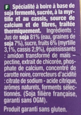 Go Shake Soja & Myrtille Cassis - Ingredients