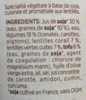 Repas Végétal aux Deux Lentilles - Ingrédients - fr