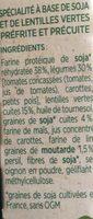 Pavé de soja et lentilles vertes - Ingrédients - fr