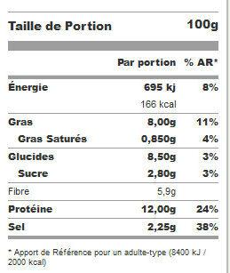 Pavé de soja et lentilles vertes - Informations nutritionnelles - fr