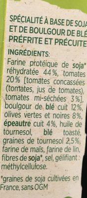 Pavés de soja et boulgour de blé - Ingredients