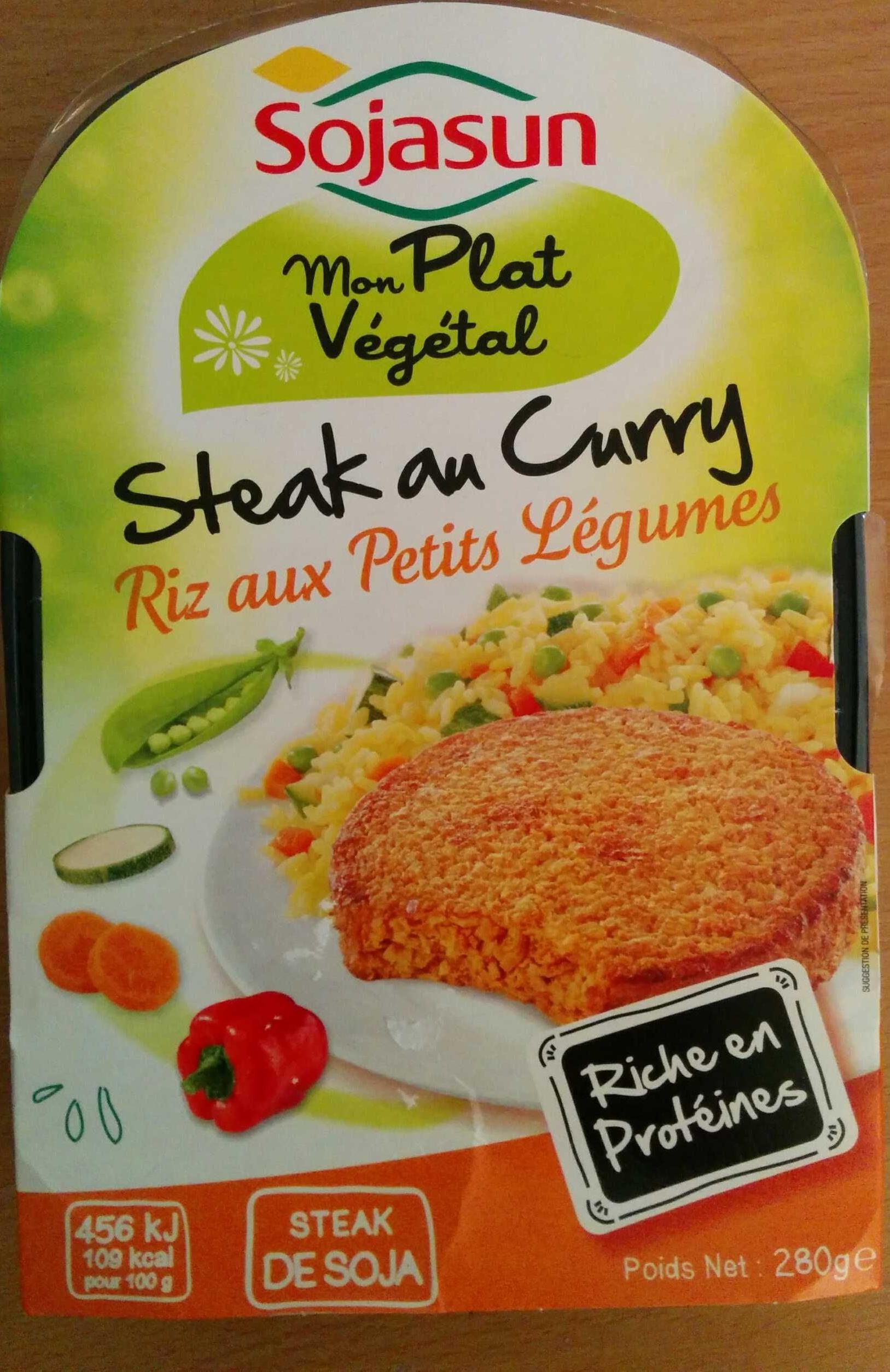 Steak de soja au curry, riz aux petits légumes - Produit