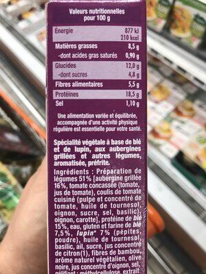 Galette végétale blé et lupin aubergine cuisinée - Valori nutrizionali - fr