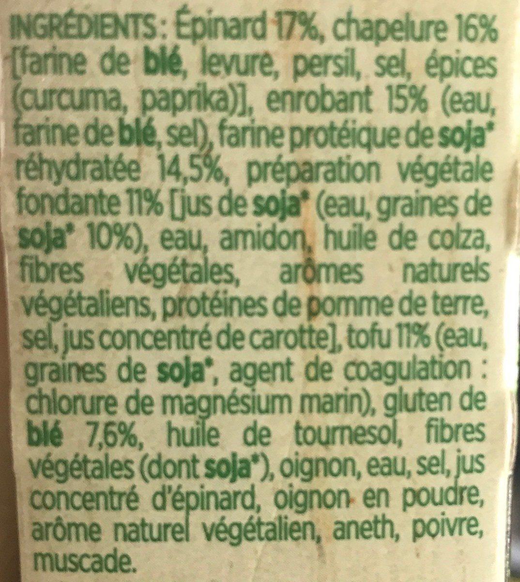 Croustillant vegetal aux epinards et au fondant vegetal - Ingrédients