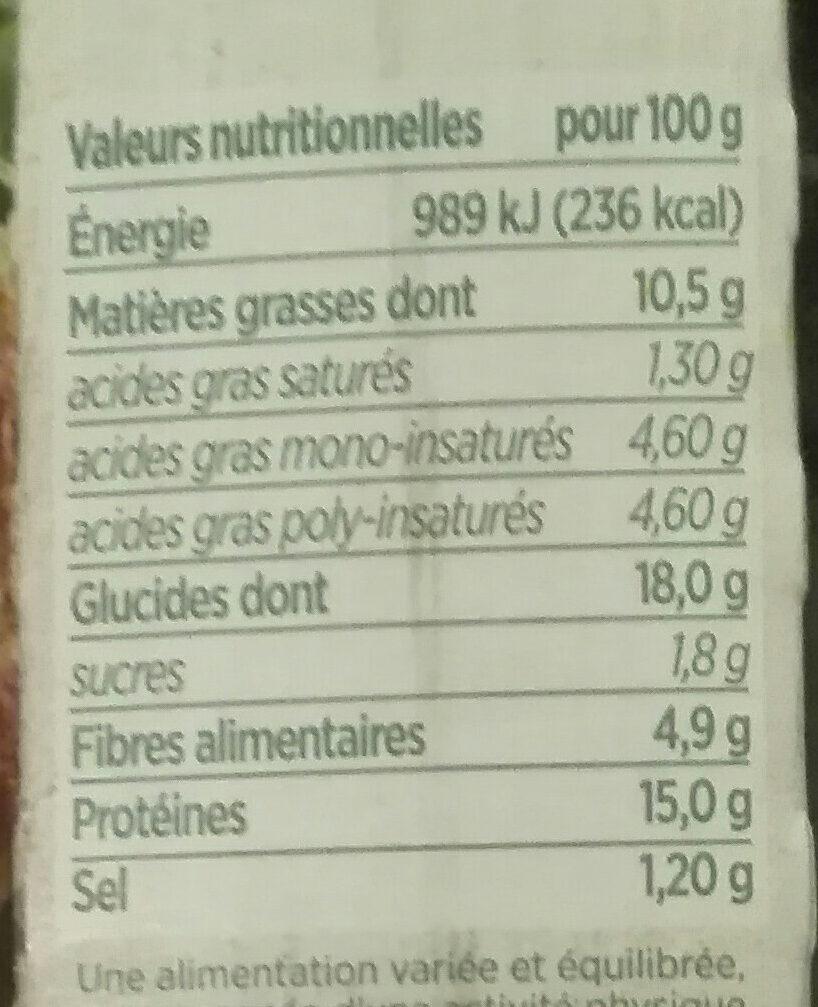Croustillant vegetal aux epinards et au fondant vegetal - Informations nutritionnelles
