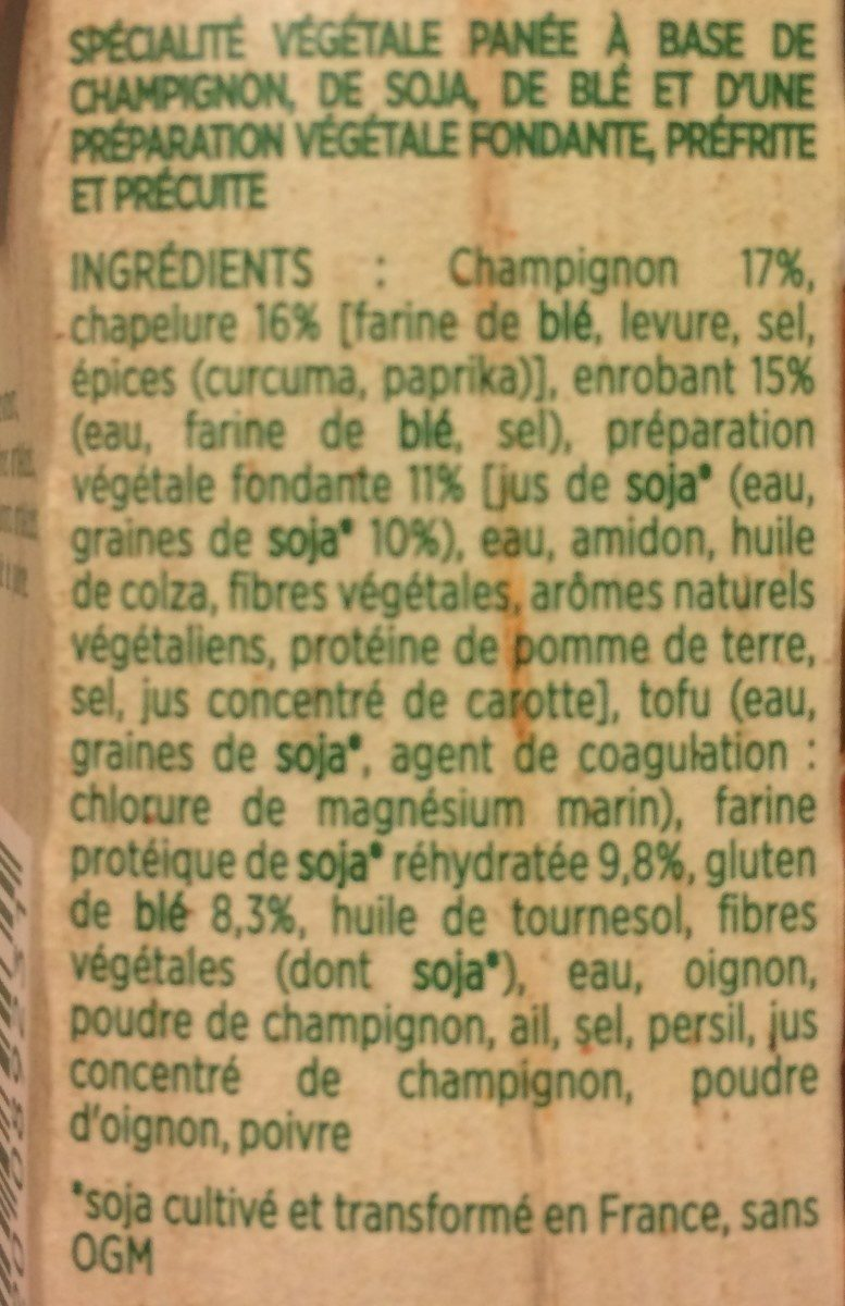 Croustillant Végétal aux champignons - Ingrédients