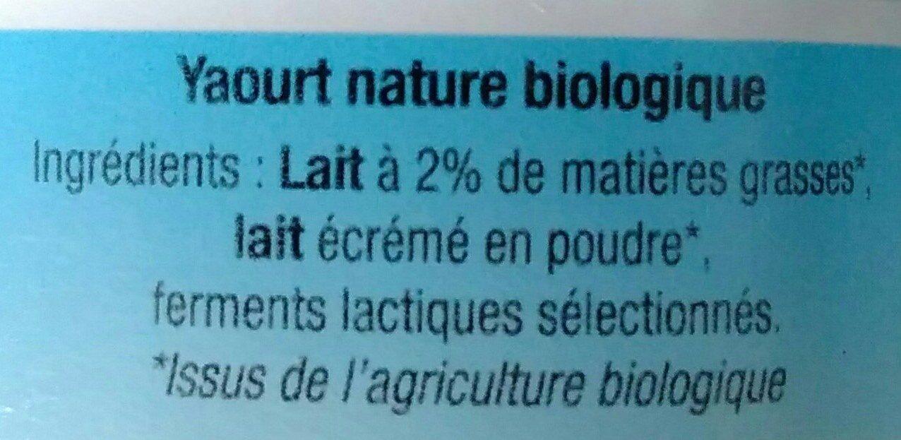 Yaourt nature au lait 1/2 écrémé - Ingrédients - fr