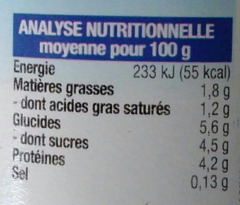 Yaourt nature au lait 1/2 écrémé - Informations nutritionnelles - fr