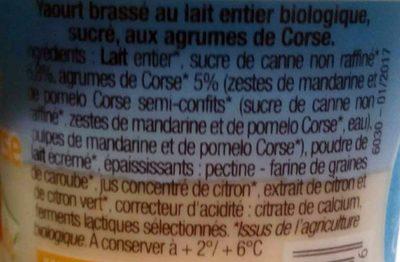 Brassé agrumes de Corse au lait entier - Ingrédients