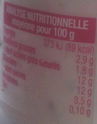 Brassé framboise Au lait entier - Informations nutritionnelles - fr