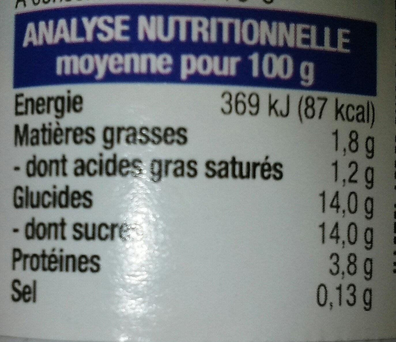 Yaourt Bifidus Framboise - Informations nutritionnelles - fr