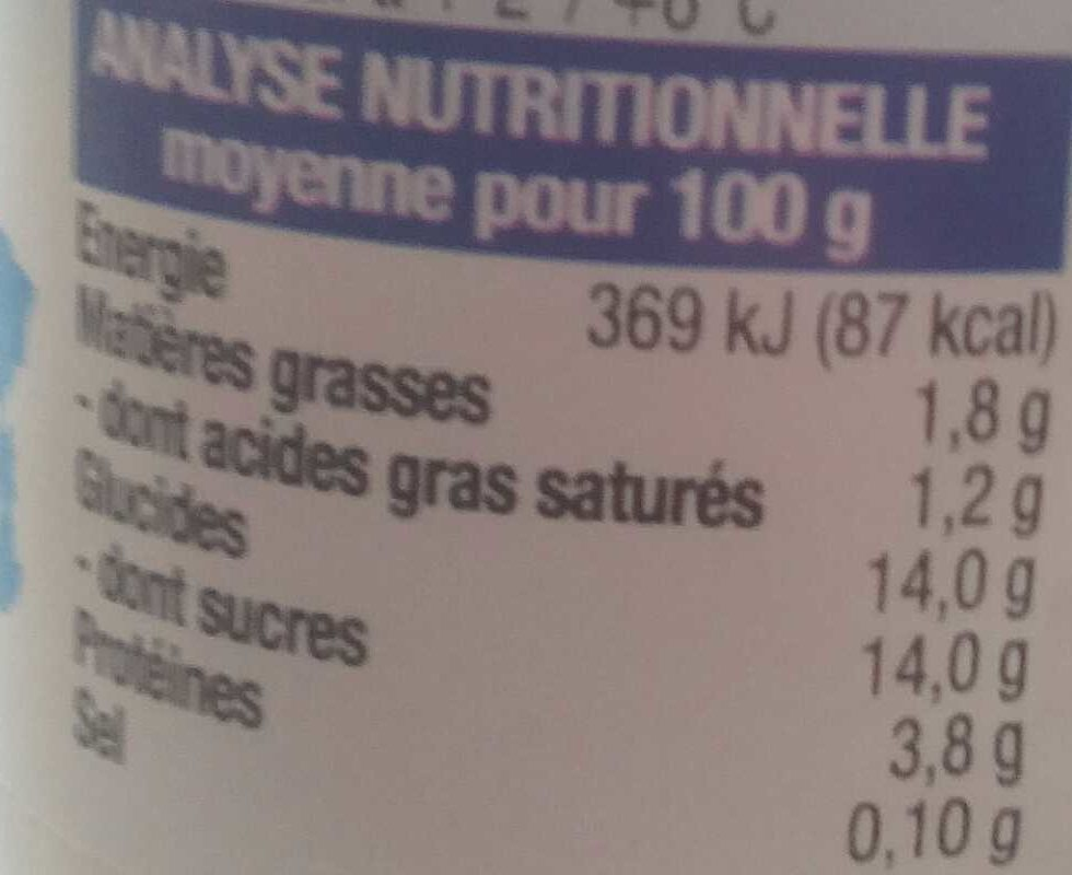 4 yaourts Bio vanille - Informations nutritionnelles - fr
